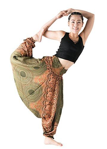 (Bangkokpants Harem Pants Women's Hippie Bohemian Yoga Pants One Size - Plus Size (Rose Green, One Size))