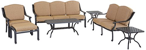 Darlee Ten Star 7-Piece Deep Seating Conversation Set/Cushions, 21-Inch Square End Tables and 21-Inch by 42-InchCoffee Table, Antique Bronze For Sale