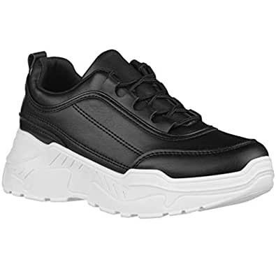 ILLUDE Women's Platform Lace up Sneaker Lightweight Casual Everyday Walking Fashion Sneakers Shoes (5 M US, Black)