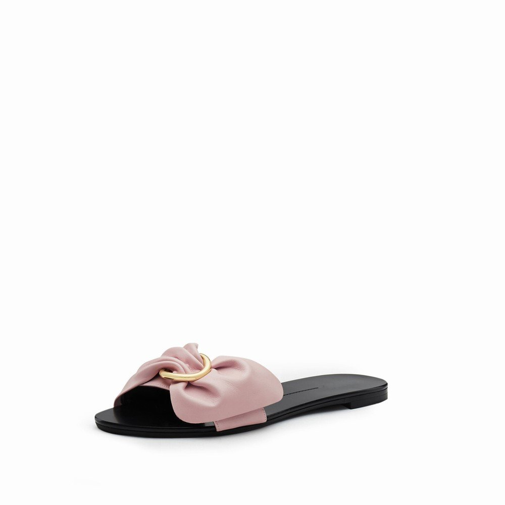 DHG Sommer Schuhe Pure Farbe Bogen Offene Zehe Flache Schuhe Sommer Frauen Sandalen Hausschuhe EIN 38 6ca83b