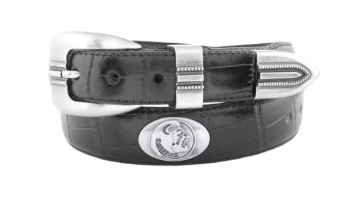 NCAA Florida State Seminoles Black Crocodile Tip Leather Concho Belt, 42 (State Leather Black)