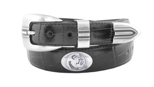 NCAA Florida State Seminoles Black Crocodile Tip Leather Concho Belt, 42 (Black Leather State)