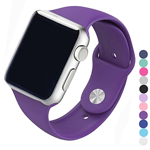Piwjo Silicone Apple Watch Band And Replacement Iwatch Bands Series 1  Series 2 Series 3  Purple  42Mm M L