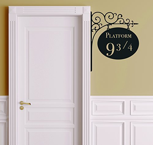 "Platform 9 3/4 Version 2 Harry Potter Door Decor - Wall Decal Vinyl Sticker W21 12""x15"" (Message for Color)"