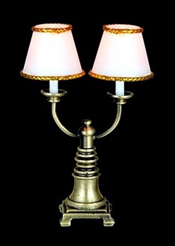 Melody Jane Dollhouse Double Candlestick Lamp White Shades 12V Miniature Electric Light