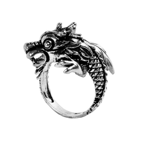 Moontide Soaring Dragon 925 Sterling Silver Ring Vintage Style Antique (Sterling Patina)