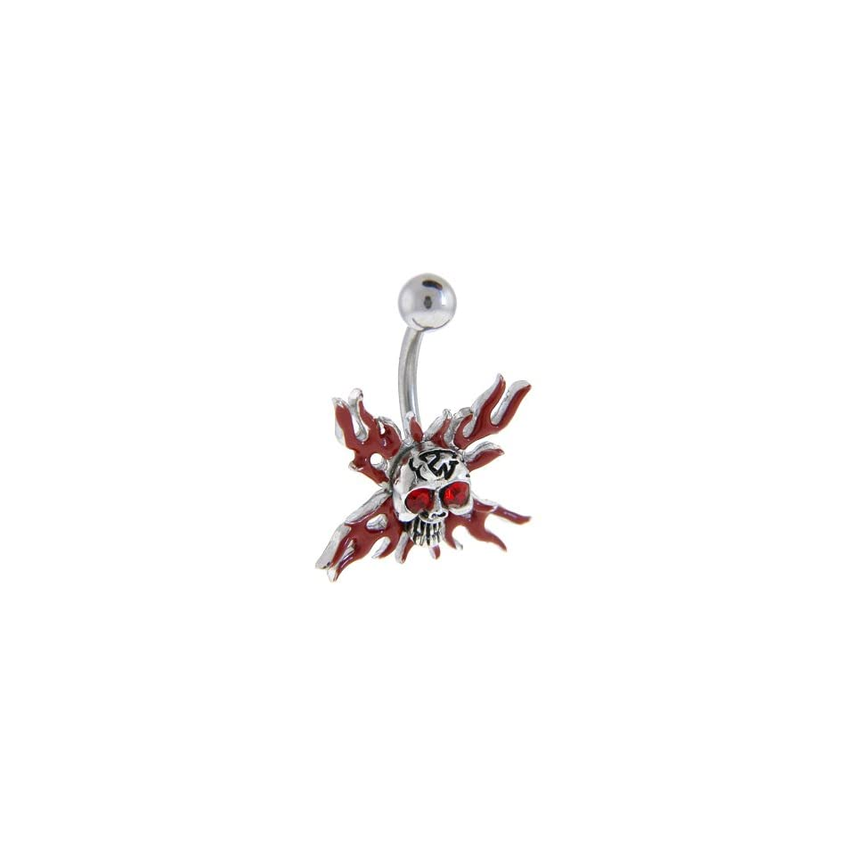 Ruby Red Gem Flaming Skull Belly Ring Jewelry