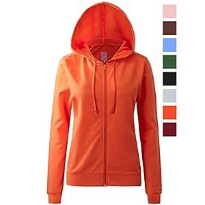 Regna X Womens Long Cotton Pullover Hooded Full Zip Hooded Sweatshirt Orange 3XL