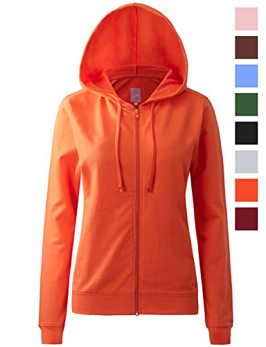Womens Orange Hoody Sweatshirt (REGNA X womens long sleeve casual color block full zip hoodie Orange 2XL)