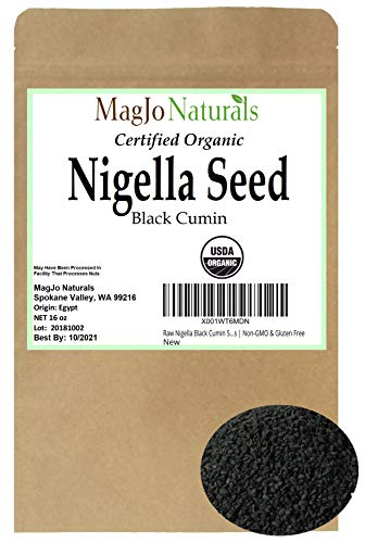 Raw Nigella Black Cumin Seeds (Nigella Sativa) | 1 POUND BAG | Certified Organic Ingredients | Non-GMO & Gluten Free ()