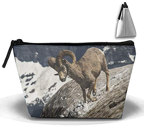 Roomy Cosmetic Bag Longhorn Sheep Toiletry Pouch Makeup with Zipper for Travel ()