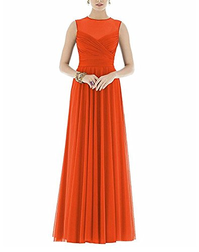 Women's Evening Orange Floor Botong Prom Length Gown Bridesmaid Chiffon Dress Pleaded dwv8qv
