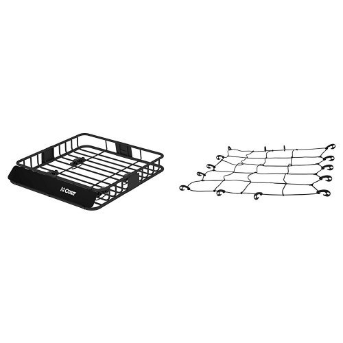 Curt 18115 Roof Mounted Cargo Rack & Curt 18200 Roof Rack Cargo Net