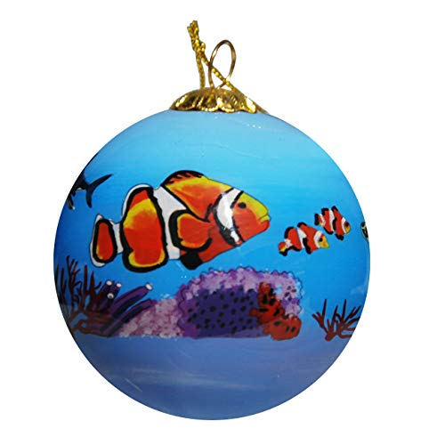 Art Studio Company Hand Painted Glass Christmas Ornament - Clown Fishes, Sea Turtles & Sharks On Reefs in (Clown Glass Ornament)