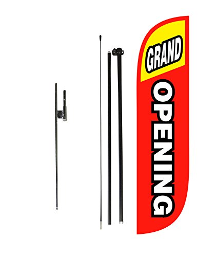 LookOurWay Grand Opening Red & Yellow Feather Flag Complete Set with Poles & Ground Spike, 5' (Outdoor Banner Opening)