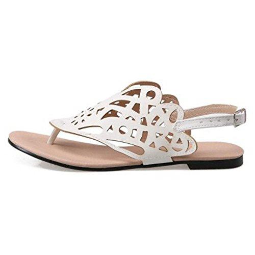 COOLCEPT Damen Mode Flach Sandalen Schuhe Slingback White-84
