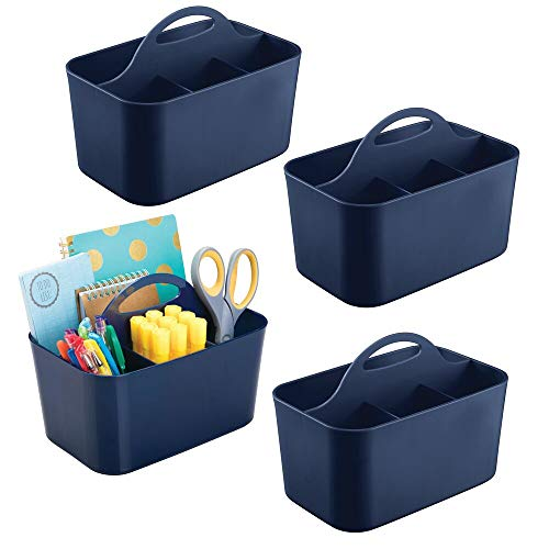 mDesign Small Office Storage Organizer Utility Tote Caddy Holder with Handle for Cabinets, Desks, Workspaces - Holds Desktop Office Supplies, Gel Pens, Pencils, Markers, Staplers - 4 Pack - Navy Blue
