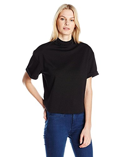 (GUESS Women's Short Sleeve Aubrielle Braided Neck Top, Jet Black A, M R)