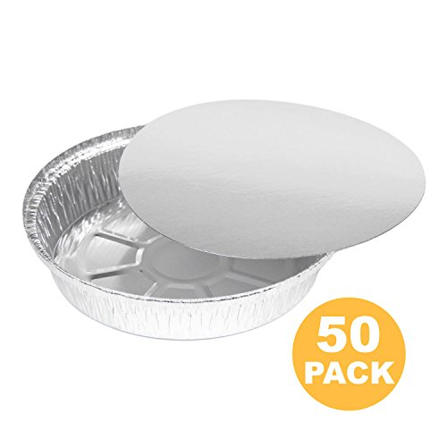 Round 8 Inch 37 oz, 2.3 lb, 1.1 Quart Disposable Aluminum Foil Pan Take Out Food Containers with Flat Board Lids, Steam Table Hot Cold Freezer Roasting Baking Oven Safe [50 Pack] Container Flat Lid