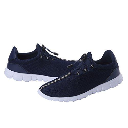 Laufende Schuhe der Männer arbeiten breathable Turnschuh-Maschen-weiche Sohle beiläufiges athletisches Leichtgewicht um Blau