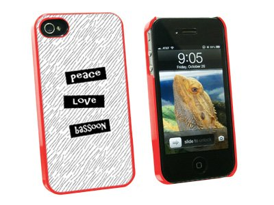 Graphics and More Peace Love Bassoon - Snap On Hard Protective Case for Apple iPhone 4 4S - Red - Carrying Case - Non-Retail Packaging - Red