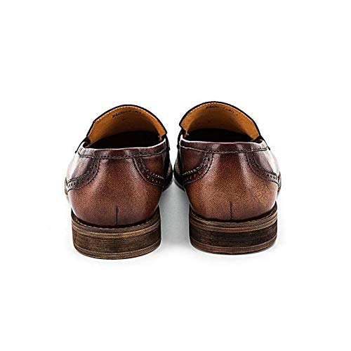 Zapatos Vintage 41 Mocasines Hombres a Borla Casuales EU de Color Hechos Brown Genuino On Black Zapatos Cuero Ruanyi Mano Mocasines Size para Slip 0vqAaR
