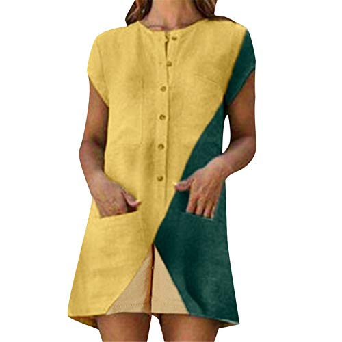 Thenxin Linen Romper for Women O Neck Short Sleeve Button Down Jumpsuit Patchwork Short Playsuit (Yellow,M)