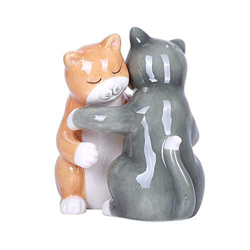 Hugging Cats Magnetic Ceramic Salt and Pepper Shakers Set