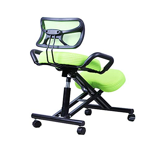 XCJ Kneeling Stool,Professional Series Green Ergonomic Orthopedic Kneeling Chair Knee Stool for Light Office Use Massage Tattoo Cosmetic Beauty Salon Manicure Swivel Reiki Therapy with Wheels