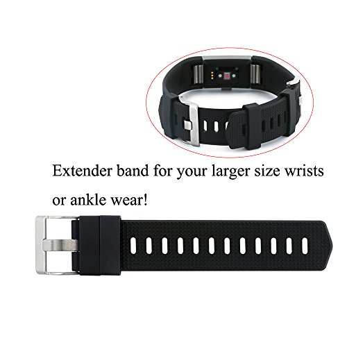 Baaletc Extender Band with Buckle Closure for Fitbit Charge 2/Fitbit Charge/Hr/Fitbit Versa Fitness Tracker Wristbands - Designed for Larger Size Wrists or Ankle Wear, 21mm (Width) x 113mm (Length)