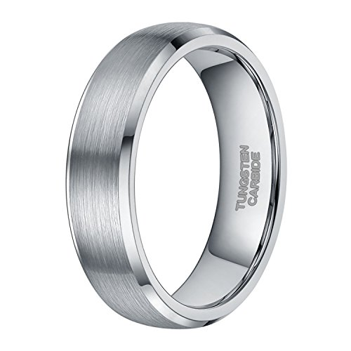 Shuremaster 6mm 8mm Tungsten Ring for Couples Dome Brushed Wedding Band Comfort Fit Size 8.5 by Shuremaster