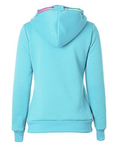 Mujeres Cremallera Sudadera con Capucha Chaqueta Corta con Capucha Jacket Sportswear Azul