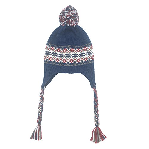ofoot Women/Girls Winter Thick Knit Ski Hats with Ear Flaps,Dual Layered Thermal Pom Pom Caps with Braid as (Navy)