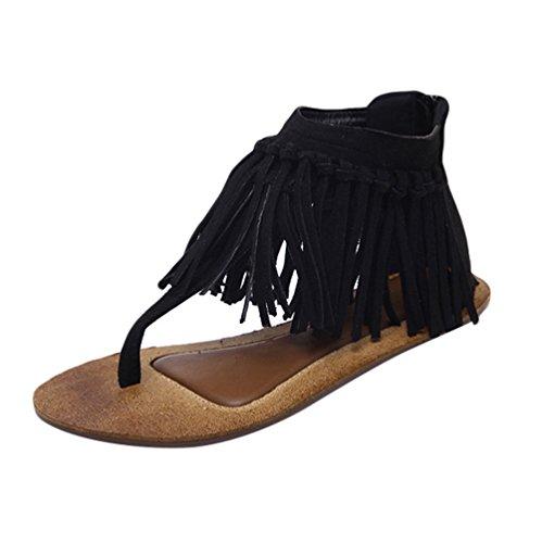 Sandalias Peep Mujer NiSeng Toe Negro Retro T Strap Toe Flecos Sandalias Peep Piso Sandalias Toe Clip TP6PqH