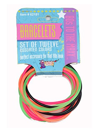 Forum Novelties 80s Bracelet Set 62151, Multicolor