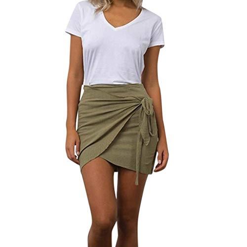 Psunrise Falda Summer Women Skinny Fashion Casual Solid Bandege Color Waist Short Beach Mini Skirt