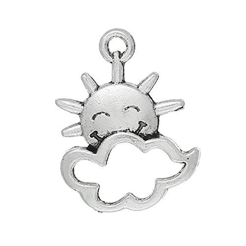 (PEPPERLONELY 100pc Antiqued Silver Alloy Sun Cloud Charms Pendants 21x16mm (7/8