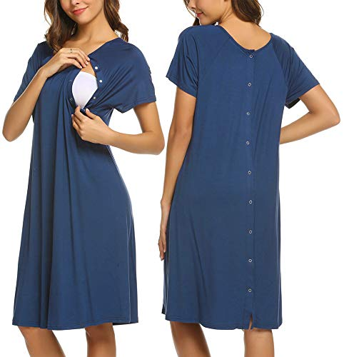 Ekouaer Womens Nursing Lougewear Short Sleeve Maternity Night Gowns Sleepwear for Breastfeeding with Snaps(Royal Blue,S) (Maternity Gown Sleepwear)