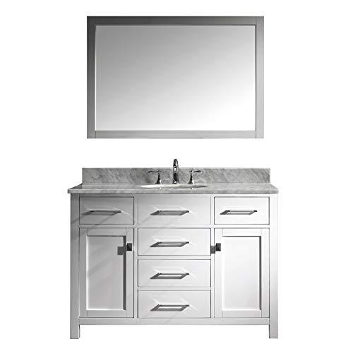 Virtu USA Caroline 48 inch Single Sink Bathroom Vanity Set in White - Mirrors Cabinet Depot Home Bathroom Round