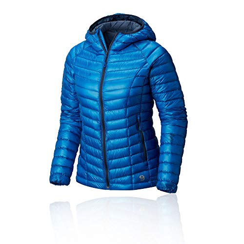 Mountain Hardwear Womens Ghost Whisperer Insulated Down Water Repellant Jacket with Hood - Prism Blue - XL