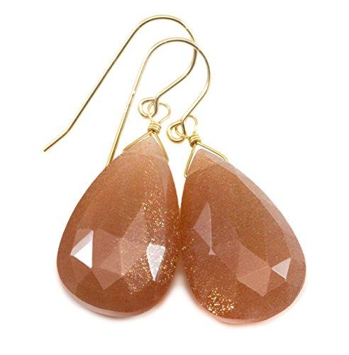 Moonstone Yellow Earrings - 14k Yellow Gold Peach Moonstone Earrings Large Long Faceted Cut Teardrops Soft Shimmery Drops