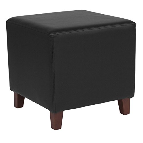 Flash Furniture Ascalon Upholstered Ottoman Pouf in Black Leather