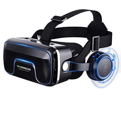 PXYUAN 3D VR Goggles, Trigger for iPhone Xs X 8 7 6/Plus, Samsung s9 s8 s6/Edge Note 9 8, Smartphones w/ 3.5-6.0in - Mask Panoramic Edge Low