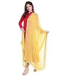 Dupatta Bazaar Women's Yellow Chiffon Dupatta with Gold Gotta Patti Work.