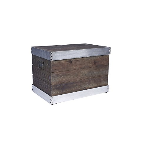 Household Essentials Wooden Storage Trunk with Silver Trim, Small ()