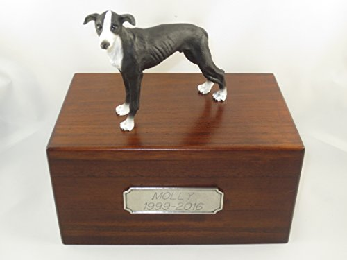 Beautiful Paulownia Medium Wooden Urn with Black Greyhound Figurine & Pewter Personalized Engraving
