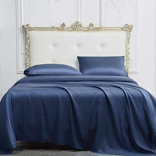 SONORO KATE Bed Sheet Set Super Soft Microfiber 1700 Thread Count Luxury Egyptian Sheets 16-Inch Deep Pocket,Wrinkle and Hypoallergenic-4 Piece (Navy Blue, King)