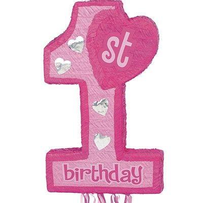 (Pink 1st Birthday Pull String Pinata )