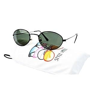 V3024-vp Style Vault Oval Round 80s 90s Metal Sunglasses (50416 black-Green)
