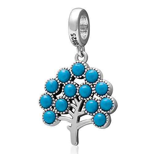 Ollia Jewelry 925 Sterling Silver Dangle Beads Tree of Life Charm with Natural Turquoise Family Tree Charm Round Chakra Reiki Healing Stone Charms